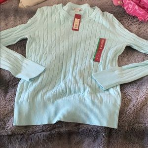 Cute Sky Blue Cable Knit Sweater